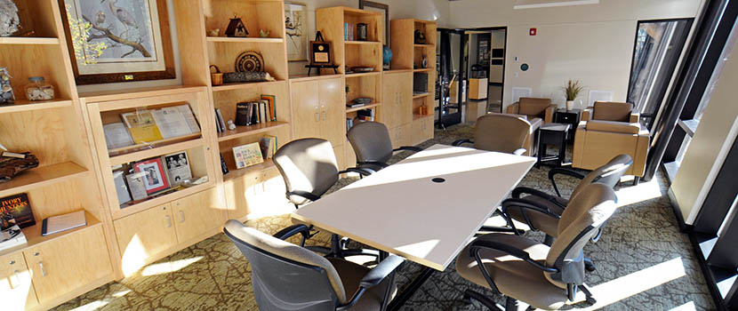 A sunny room with a conference table