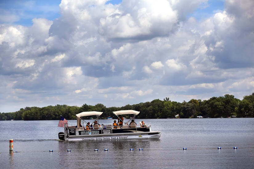 Group on pontoon boat