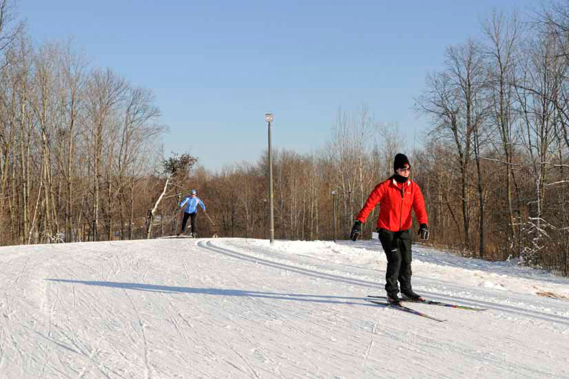 Skier on groomed trail