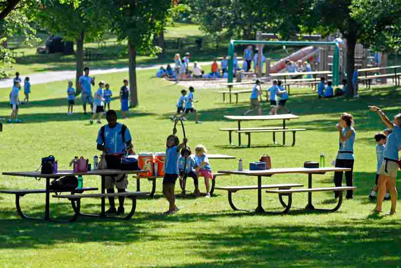 Children in picnic area