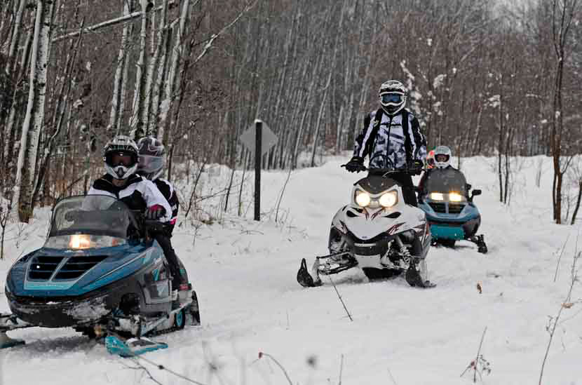 Snowmobilers on a wooded trail