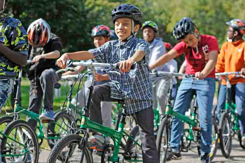 Group of kids on bikes