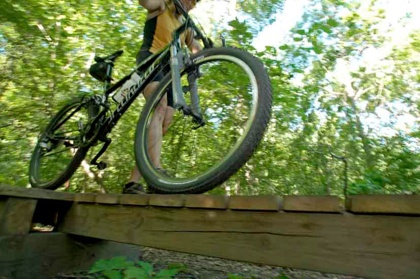 Mountain biker on bridge
