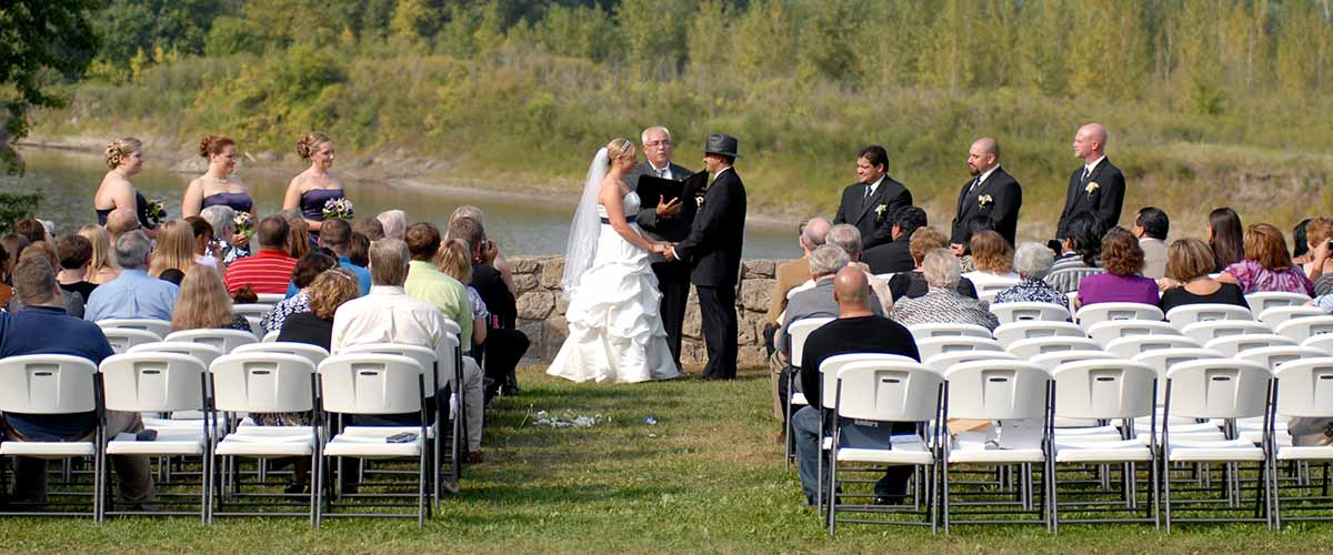 Wedding ceremony overlooking river