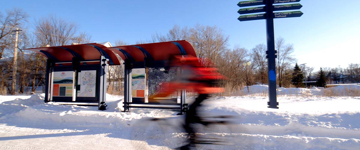 Regional trail kiosk in winter