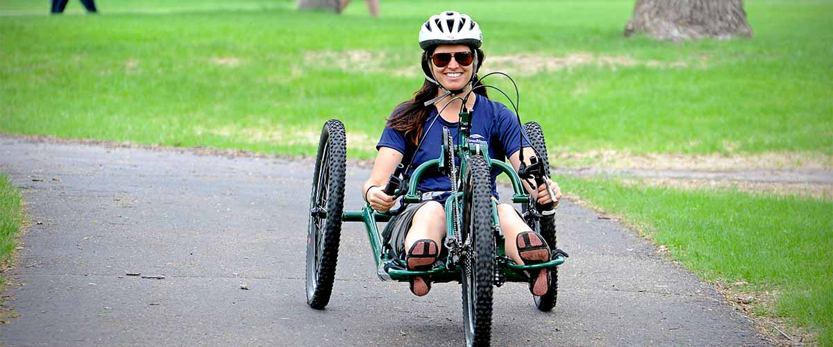 Women on handcycle