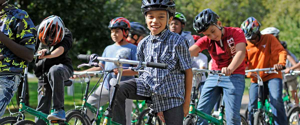 Group of young bikers