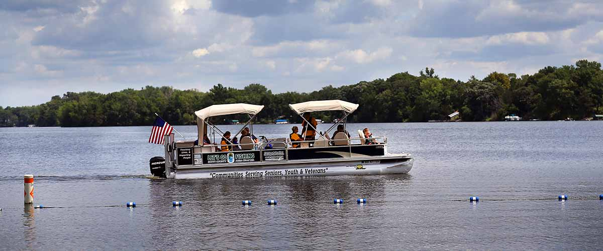 Group of people on a pontoon boat