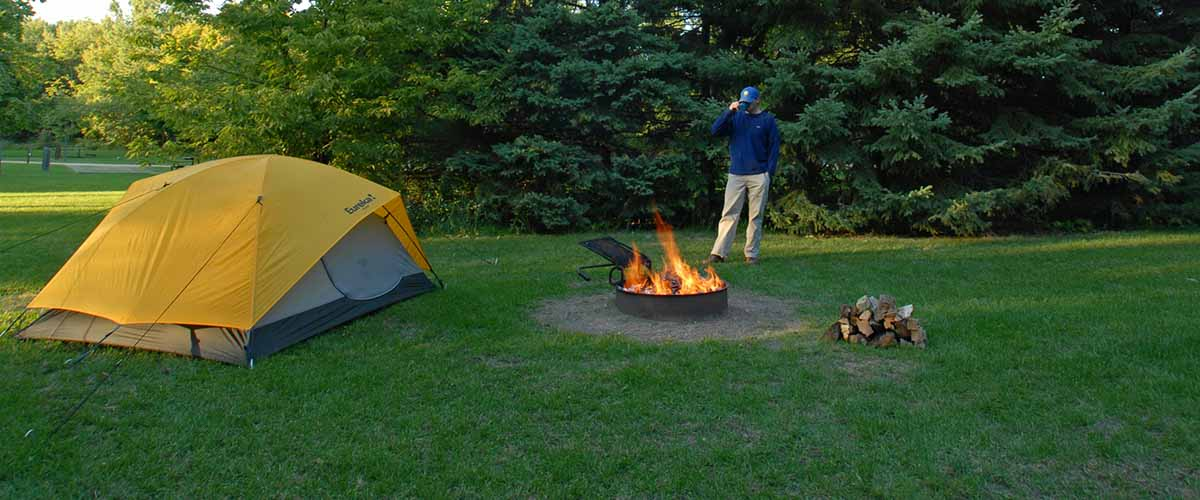 Camping tent and fire