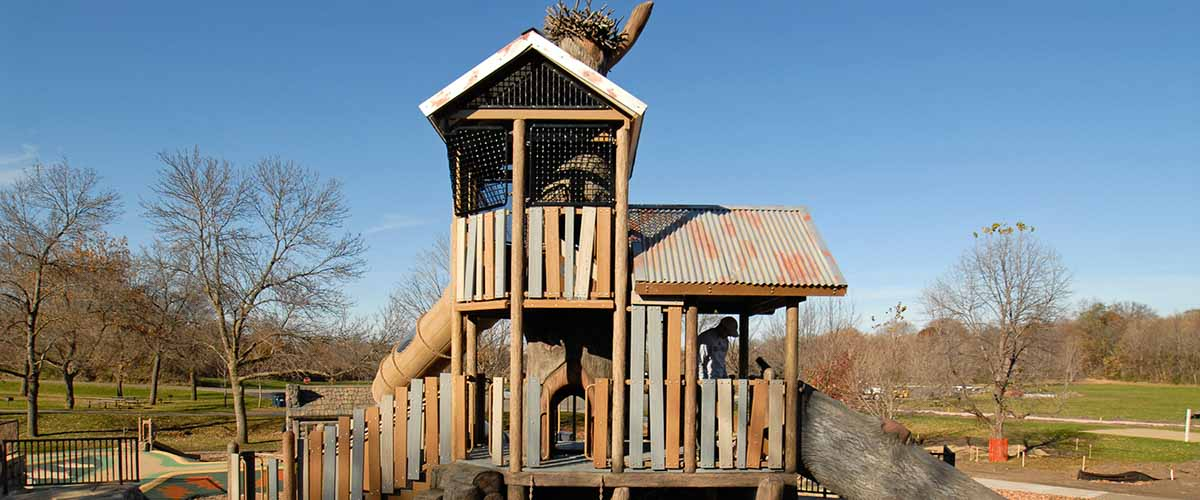 Big Woods play area with osprey tower