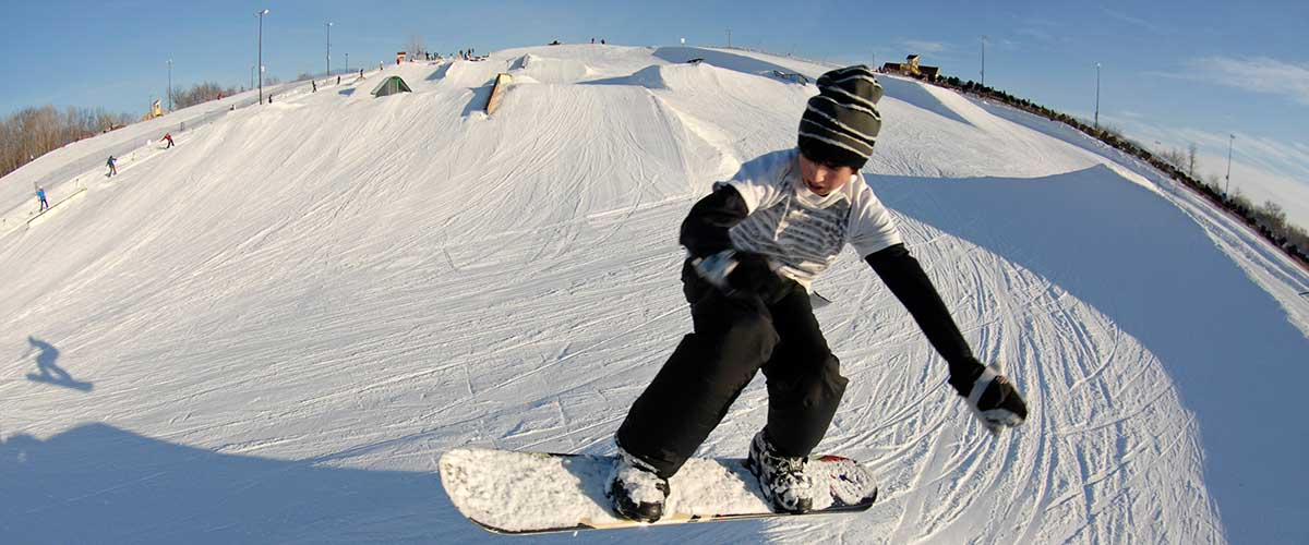 Snowboarder on hill