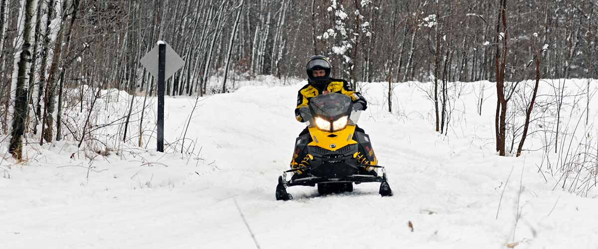 Snowmobiler on wooded trail