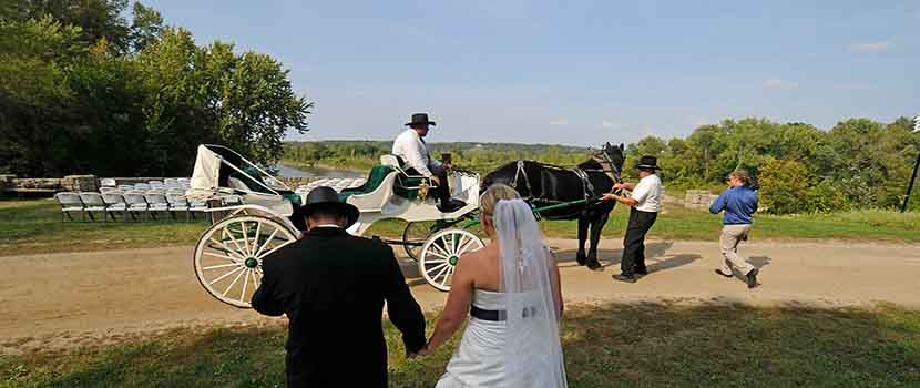 bride and groom walk towards a horse drawn carriage