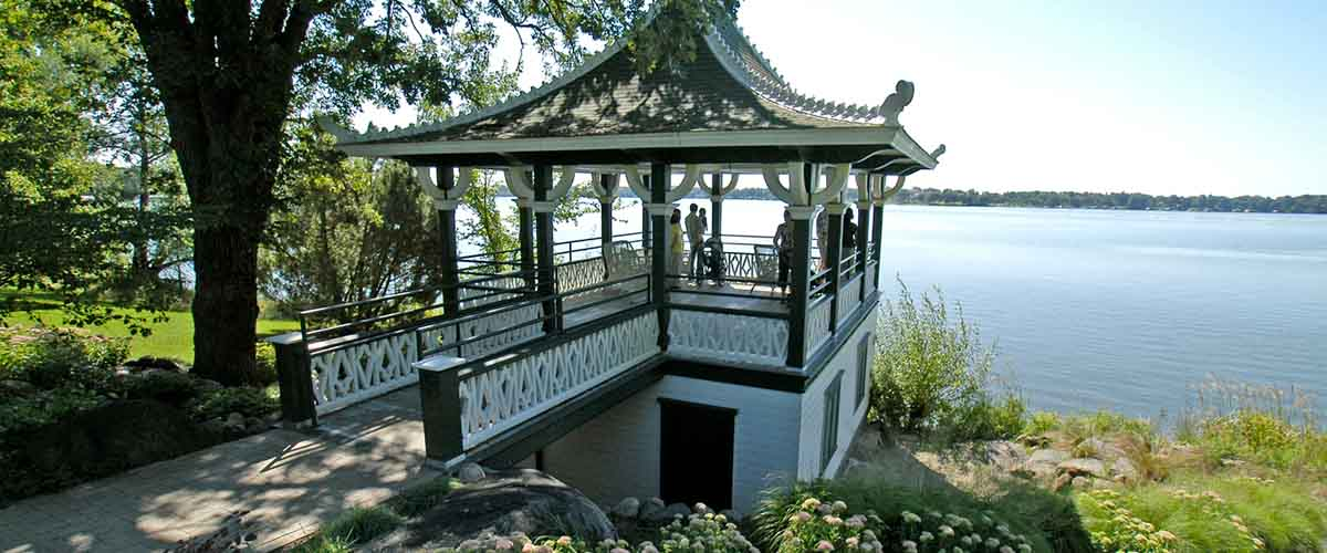 People in gazebo over looking Lake Minnetonka