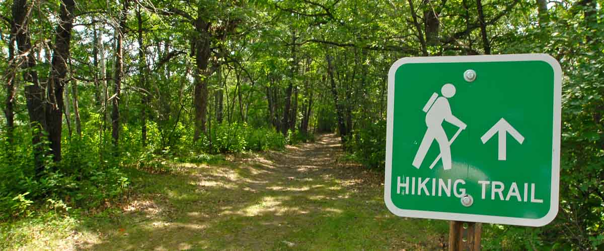 hiking trail with hiking sign