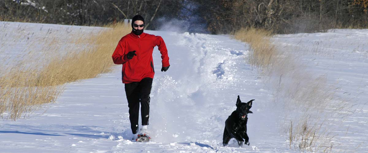 Man snowshoeing with dog