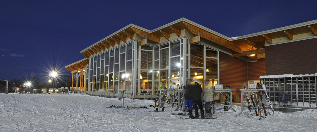 hyland ski chalet at night