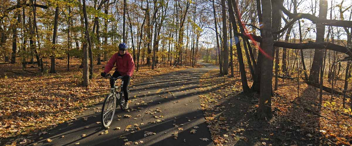 Person biking on paved trail through fall foliage