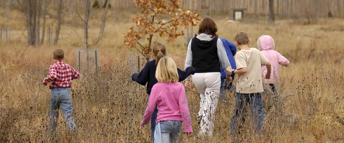 Group of kids walking through tall grasses in fall