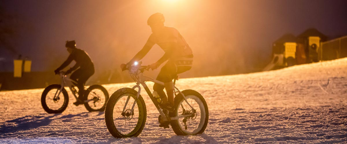 People riding fat bikes in the winter