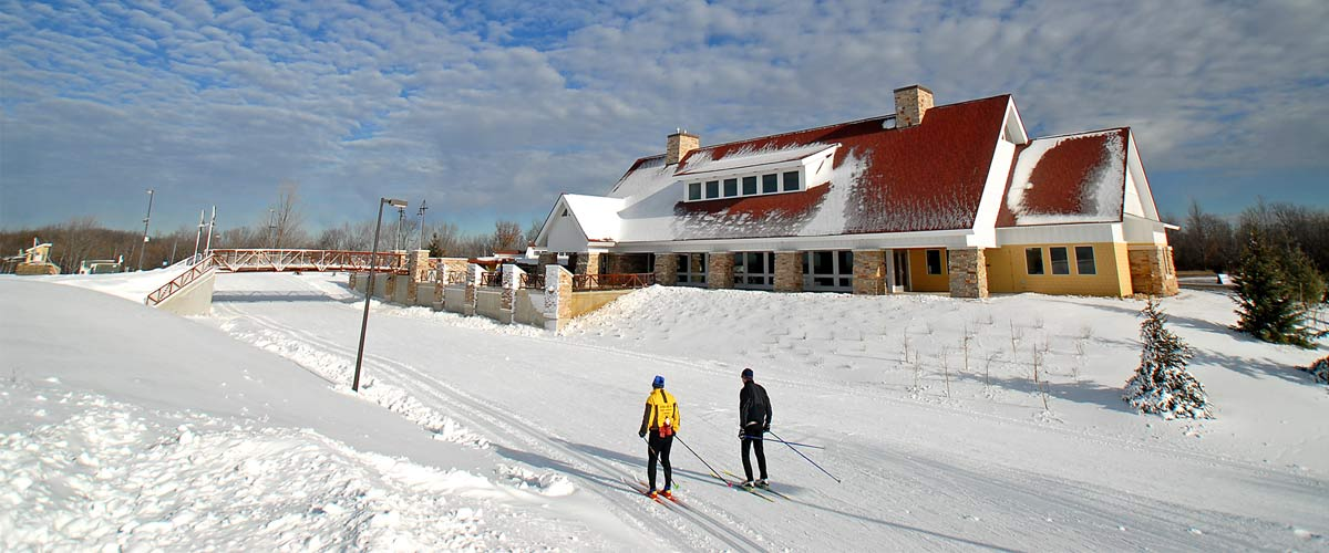 elm creek chalet with cross-country skiiers