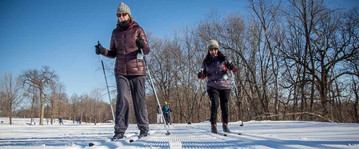 two women cross-country skiing.