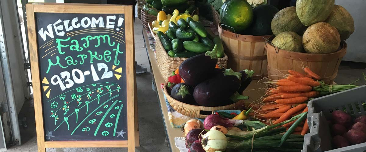 "A chalkboard sign saying ""welcome to the farm market, 9:30-12"" next to a table of produce"