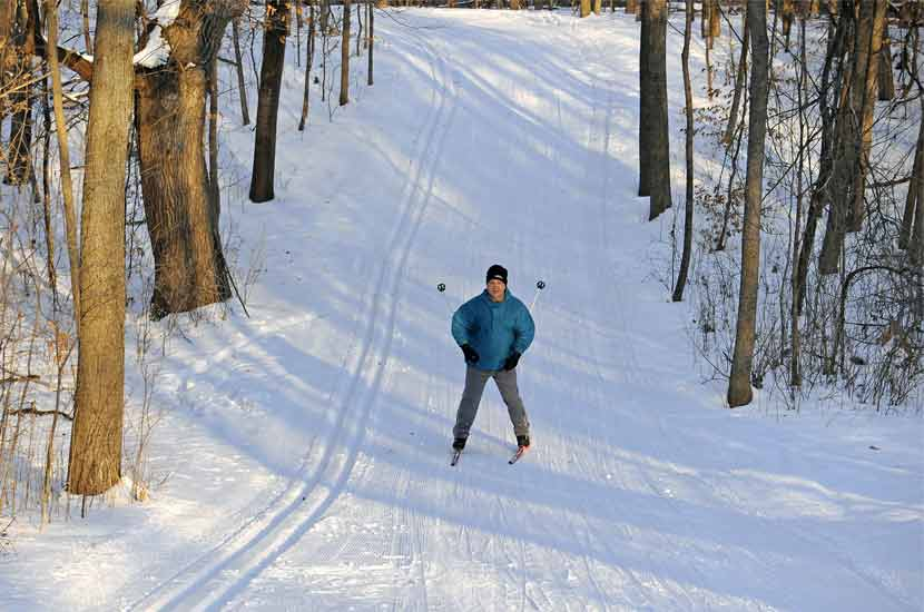 a woman cross-country skiing down a wooded path in the snow.
