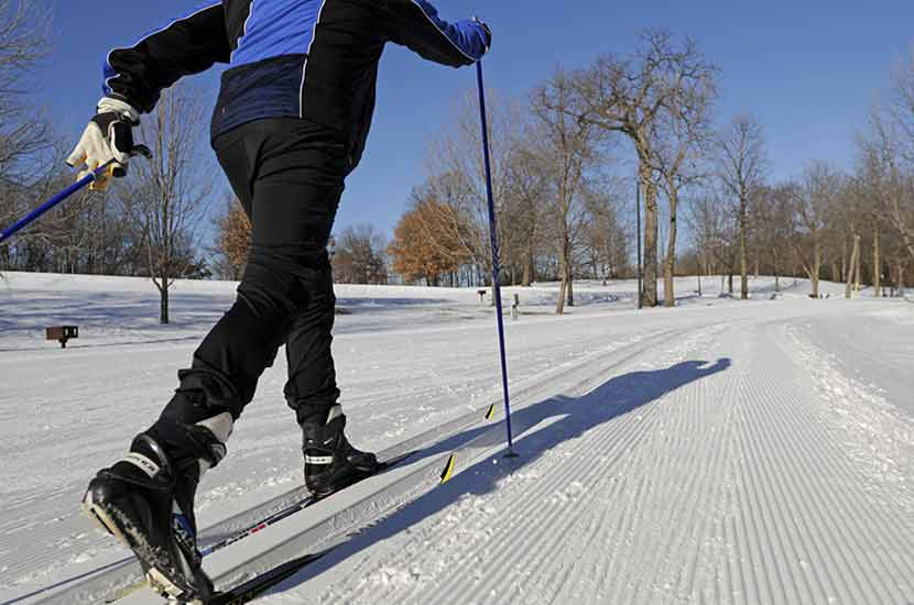 close up of a cross-country skier on a groomed trail.