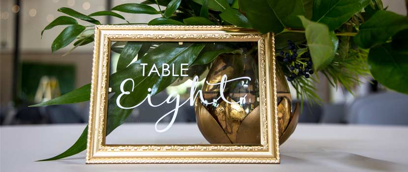 A table number set out for a wedding.