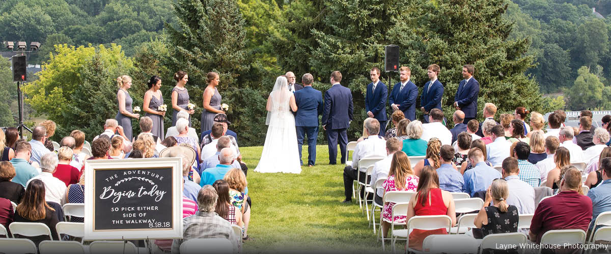 An outdoor wedding ceremony.