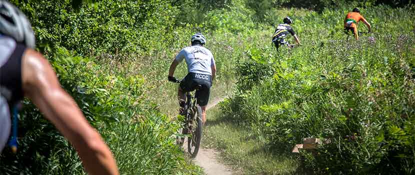 three mountain bikers on a singletrack trail