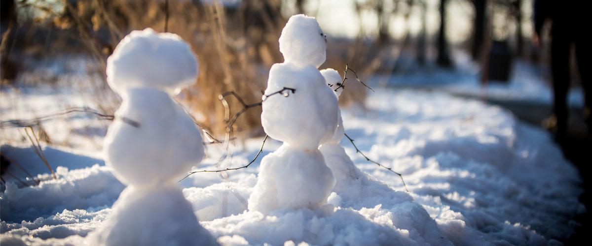 Three small snowmen on the edge of a paved trail.