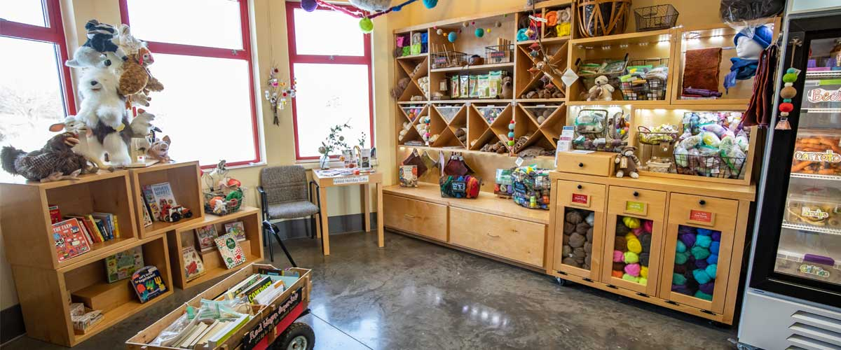 The Gale Woods Farm Store offers fiber, books, meat and other gifts.
