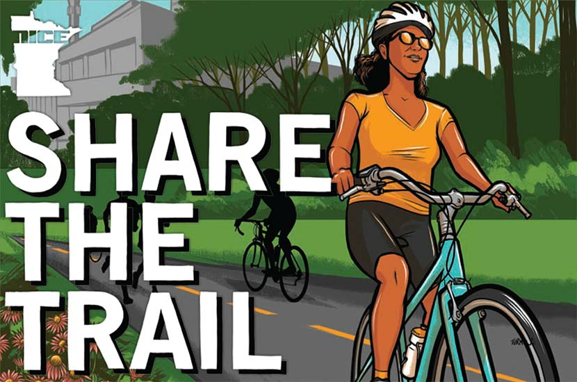 "An illustration of a woman riding a bike. Text to the left says ""share the trail."""