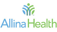 Allina health blue and green logo.