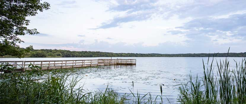 A fishing pier extends into a lake in the summer.