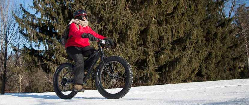 A person rides a fat bike over a snowy trail.