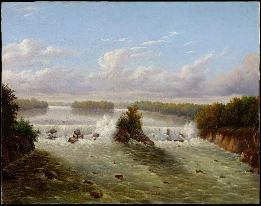 painting of the falls from 1848 by Seth Eastman