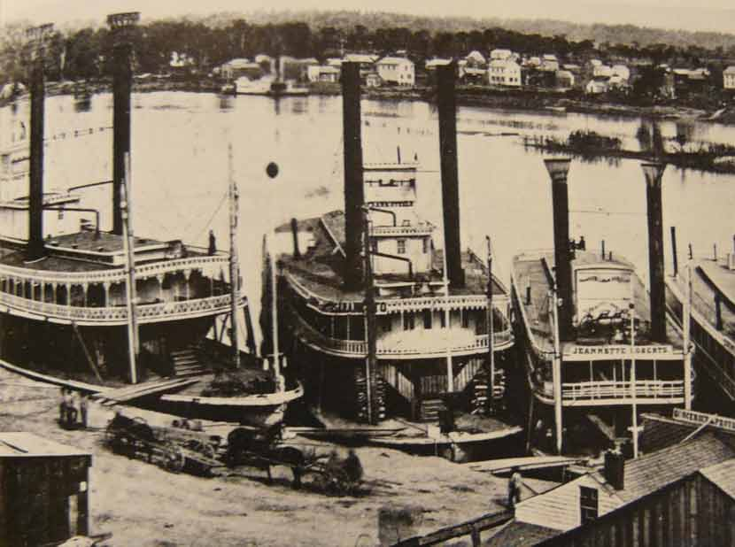 black and white image of the St. Paul waterfront circa 1858