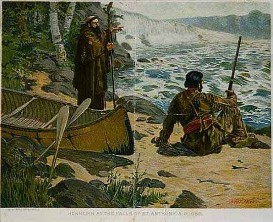painting of Father Hennepin and a Dakota American Indian looking at the waterfalls