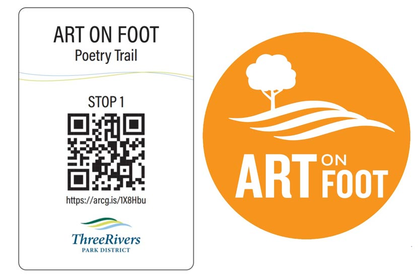 a QR code next to an orange circular graphic that says art on foot.