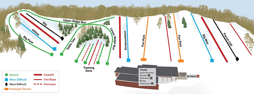 A map of the ski trails at Hyland Hills Ski area