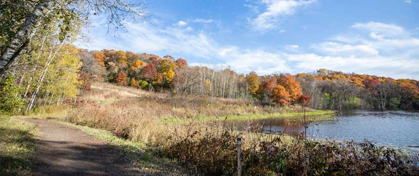 A dirt trail goes past a small lake. The tree line is full of spectacular fall color.