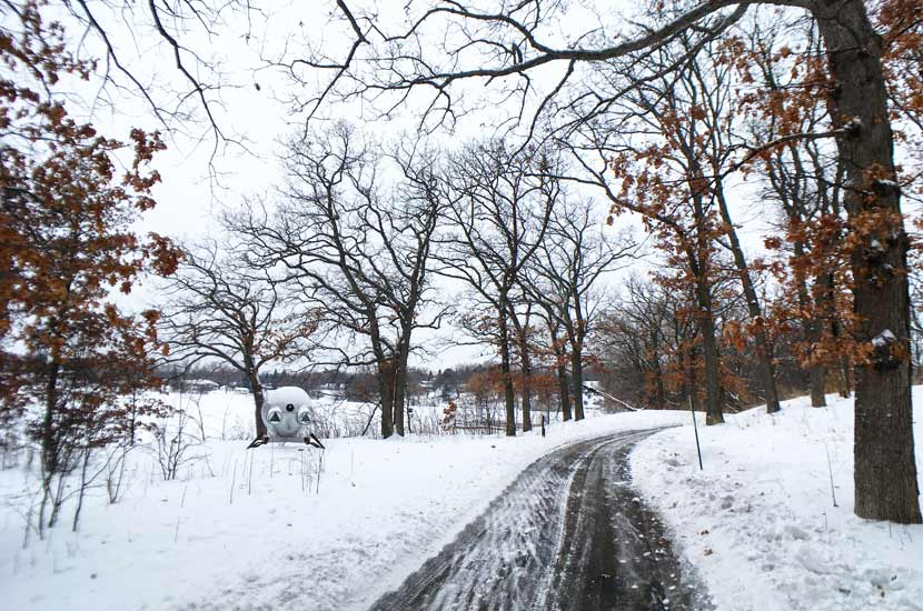 A paved trail skirts the shores of Silver Lake at Silverwood Park on a snowy winter day. The trail passes under oak trees and a metal sculpture sits to the left of the trail.