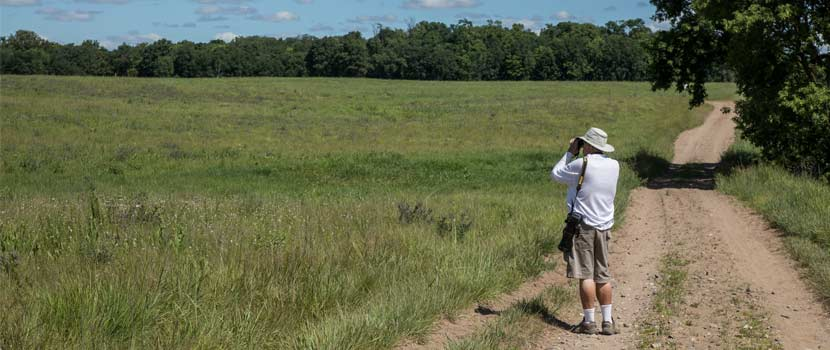 person looking through binoculars on a gravel trail in the prairie