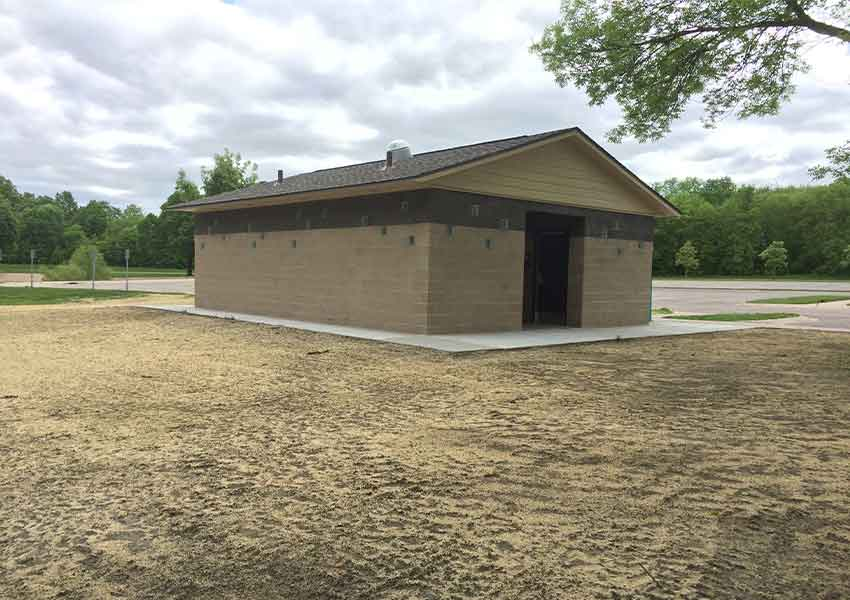 "An ""after"" picture of a newly constructed restroom at Baker Park Reserve."