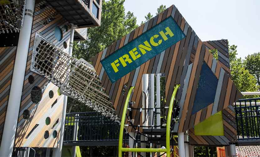 "play area displaying the word ""french."""