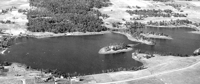 An historic aerial view of Silverwood Park.