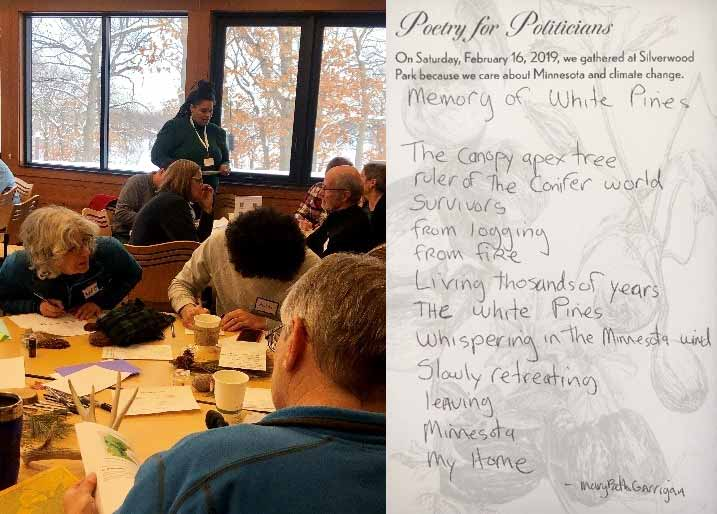 on the left is an image of a woman standing over several people writing at tables. On the right is a poem written for the poetry for politicians event.